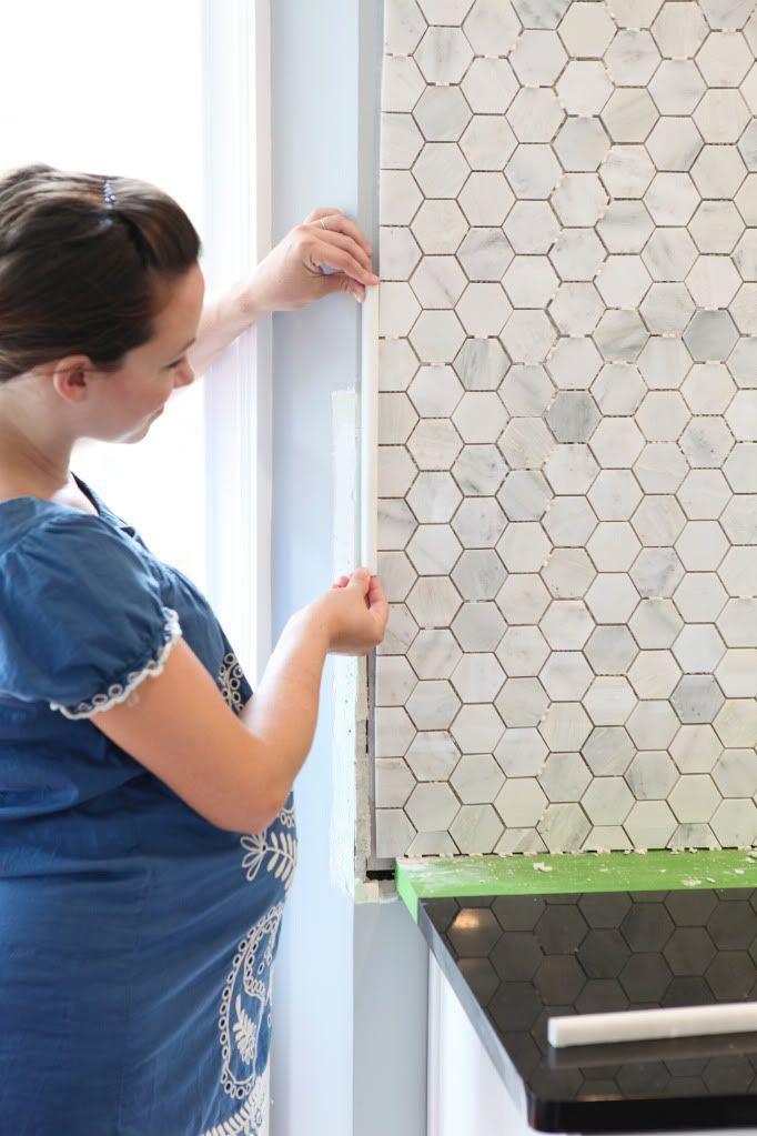 Feeling Edgey Kitchen Hexagon Tile Backsplash Kitchen