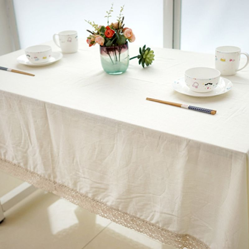 Retro Linen Cotton Table Cloth Cover Square Rectangle Tablecloth Lace Edge Decor