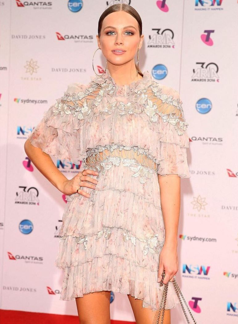 e425738cd23e Ksenija Lukish wears the Stranded Tier Mini Dress from our Spring 17  Ready-to-Wear Collection while attending the 2016 ARIA Awards in Sydney.