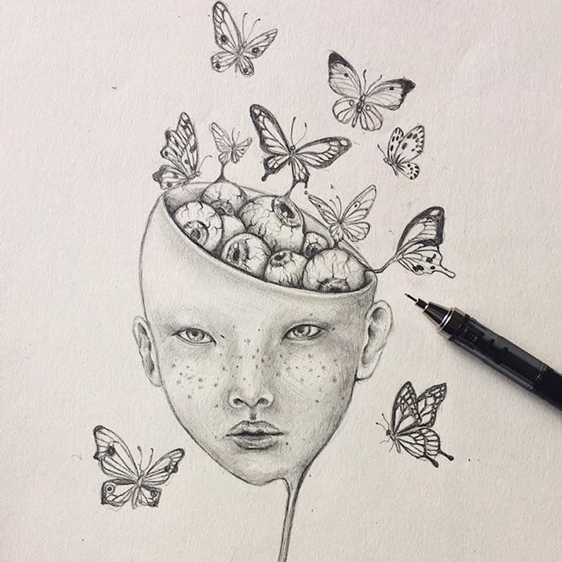 Linggo surreal girl with draping face drawing fantasy art pop surrealism hand Wall Art Wall Decor Art Poster butterfly illustration brain dr
