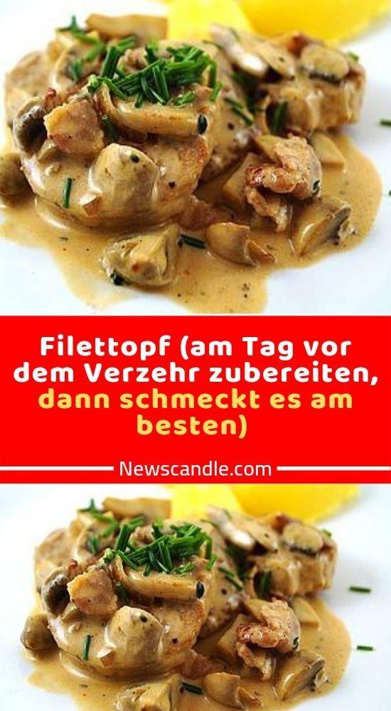 Zutaten 1 kg Schweinefilet(s) 100 g Katenschinken, in sehr kleine Würfel geschnitten 2 m.-große Zwiebel(n), fein gewürfelt 1 Knoblauchzehe(n), fein gewürfelt 500 g Champignons, frisch oder aus dem Glas 200 ml Fleischbrühe oder Gemüsebrühe (Würfel) 200 g Crème fraîche oder Schmand 200 ml Sahne 1 TL Senf 1 EL Tomatenmark, 3-fach konzentriert 1 Bund Petersilie, gehackt, oder 3 El TK-Ware 1 EL Öl 1 EL Butter Salz und Pfeffer Zubereitung Vom Schweinefilet die weiße Haut entfernen. Das Öl mit der Butt