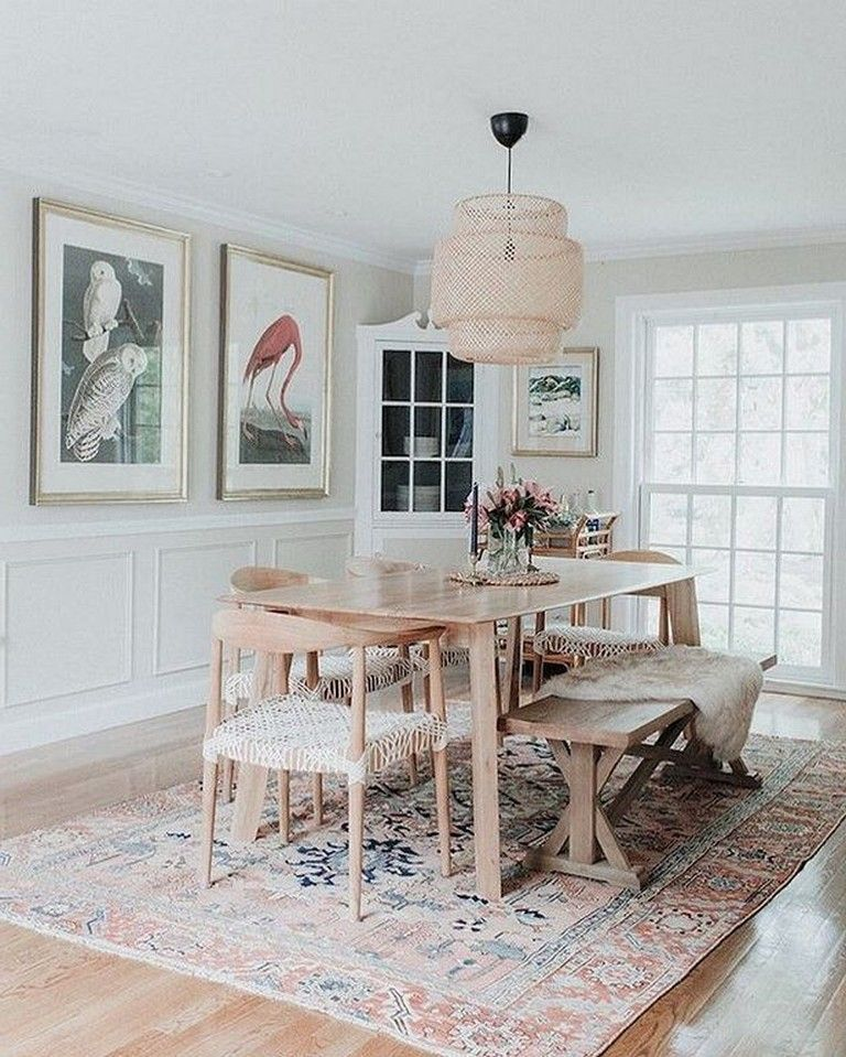 30 incredible chic boho dining room decor ideas with rustic style dining room walls decor on boho chic dining room kitchen dining tables id=44796
