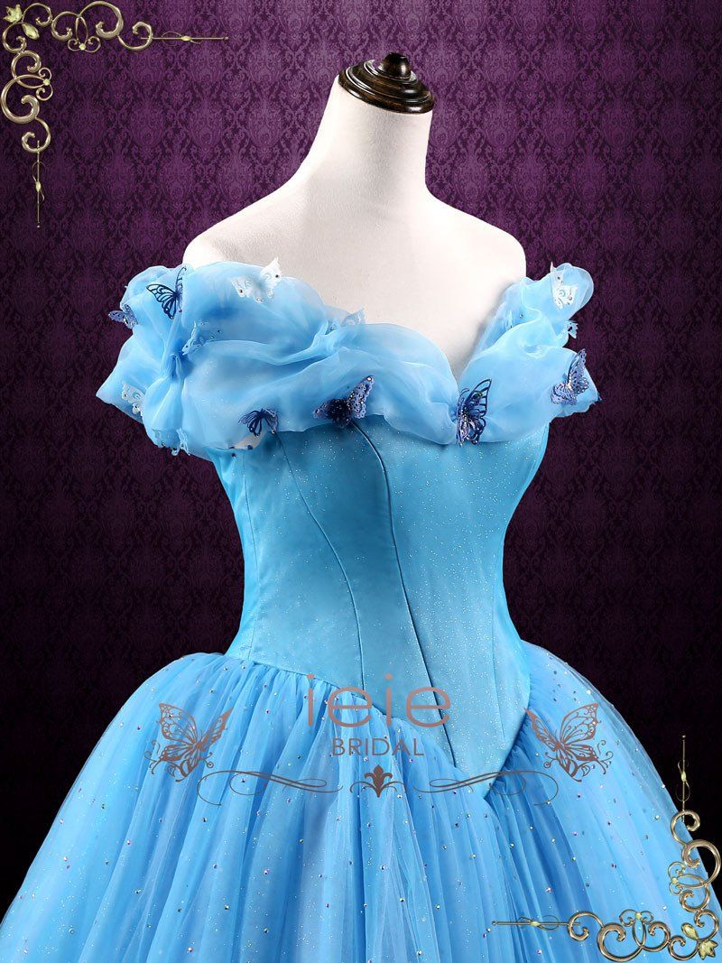 Cinderella blue ball gown evening dress cinderella in dress