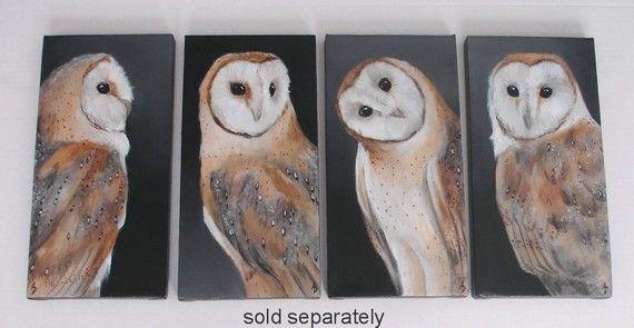 Barn Owl 18x24 original canvas painting, natural history bird art
