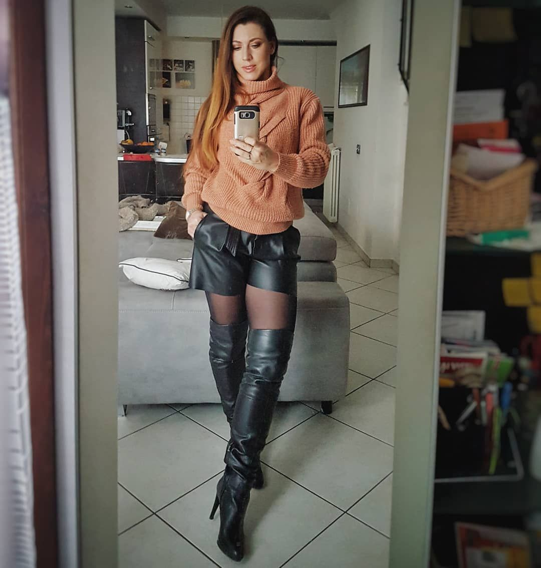 6f2ba803745 mirror selfie of black thigh high boots on black pantyhose with shorts