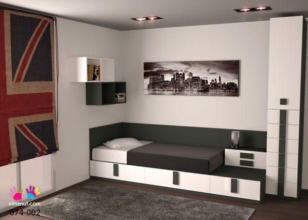 Habitación Juvenil Con Cama Compacta Configurada A Base De