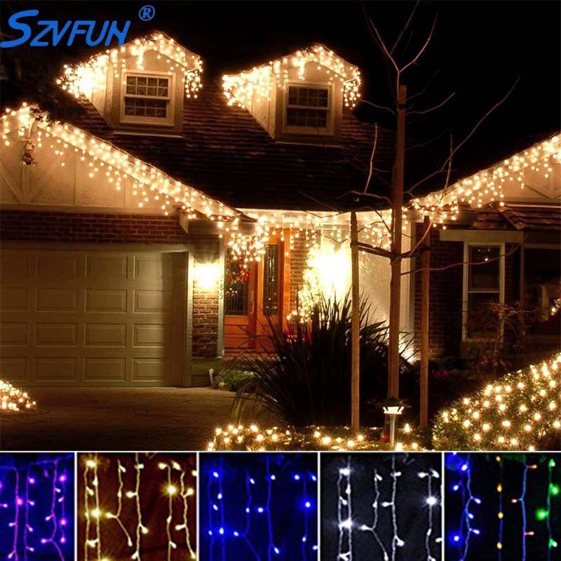 Szvfun Kerstverlichting Outdoor Led Gordijn Ijspegel String Light