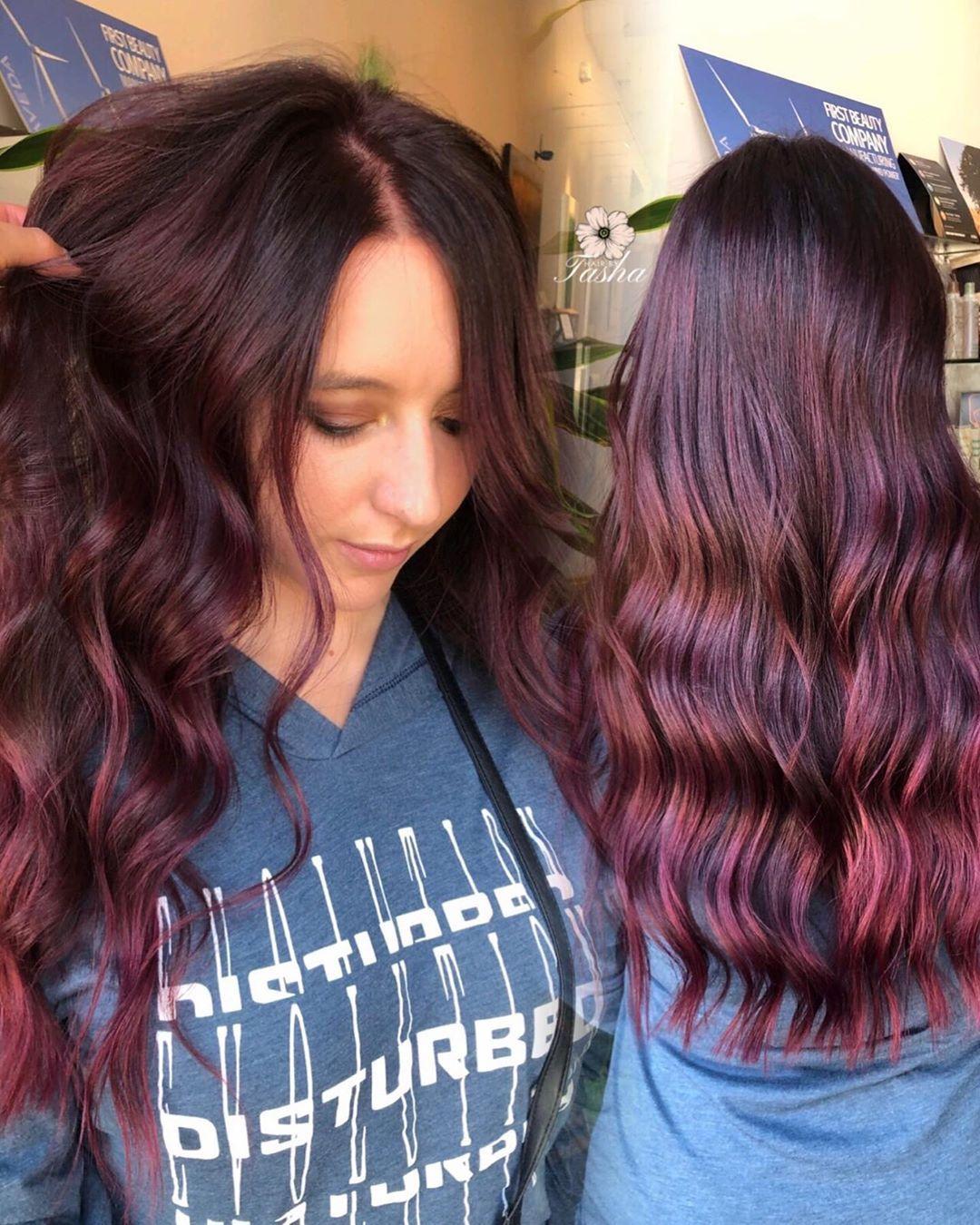 Burgundy hair, fall hair ideas 2019, dark hair ideas, red ...