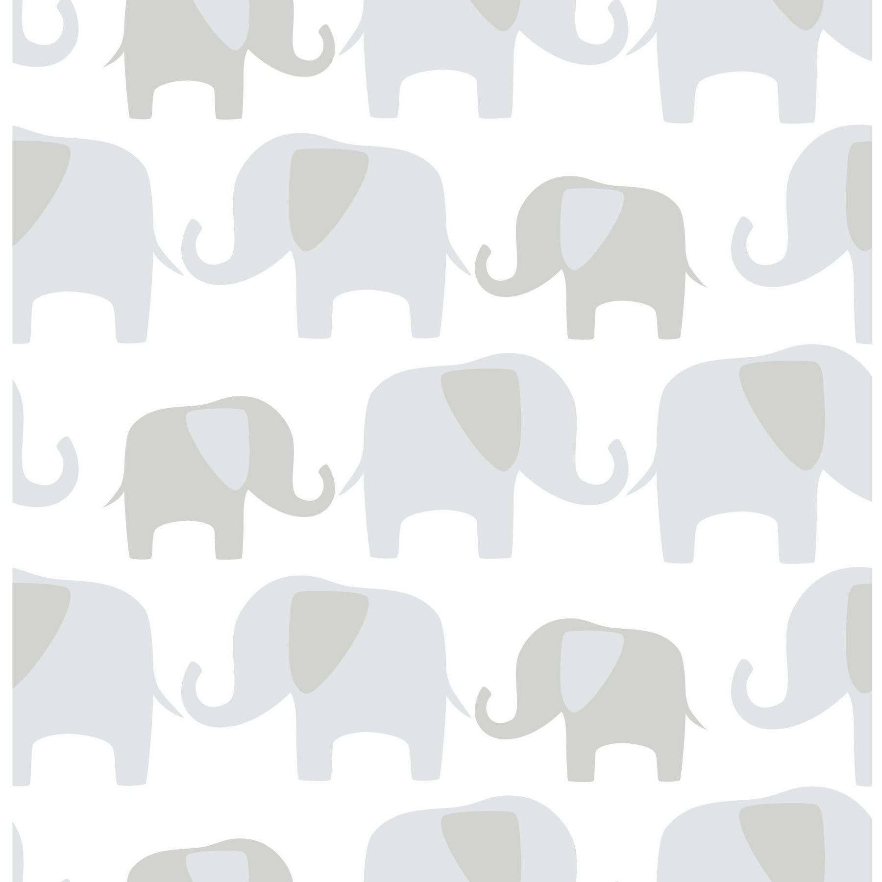 WallPops! Gray Elephant Parade Peel And Stick Wallpaper