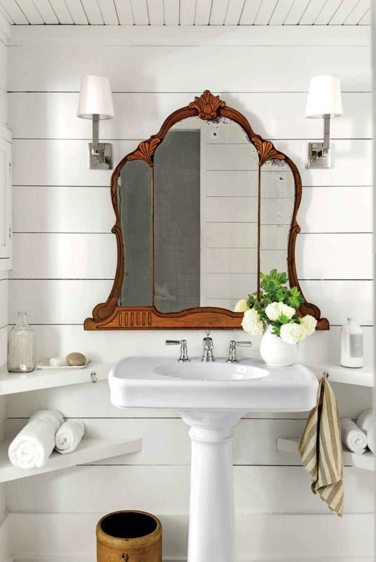 shiplap bathroom, wood ceiling, antique mirror | Livingroom ...