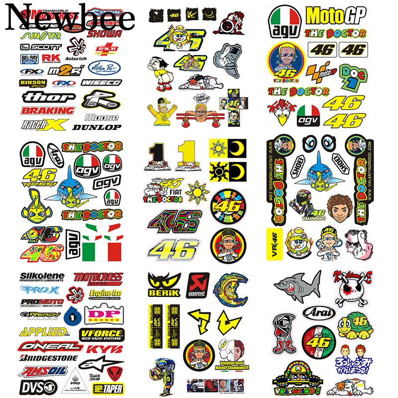 Newbee Moto Autocollant Le Medecin Rossi 46 Vr46 Motocross Casque Reflechissant Decal Pour Yamaha Kawas Motorcycle Stickers Reflective Decals Motocross Helmets