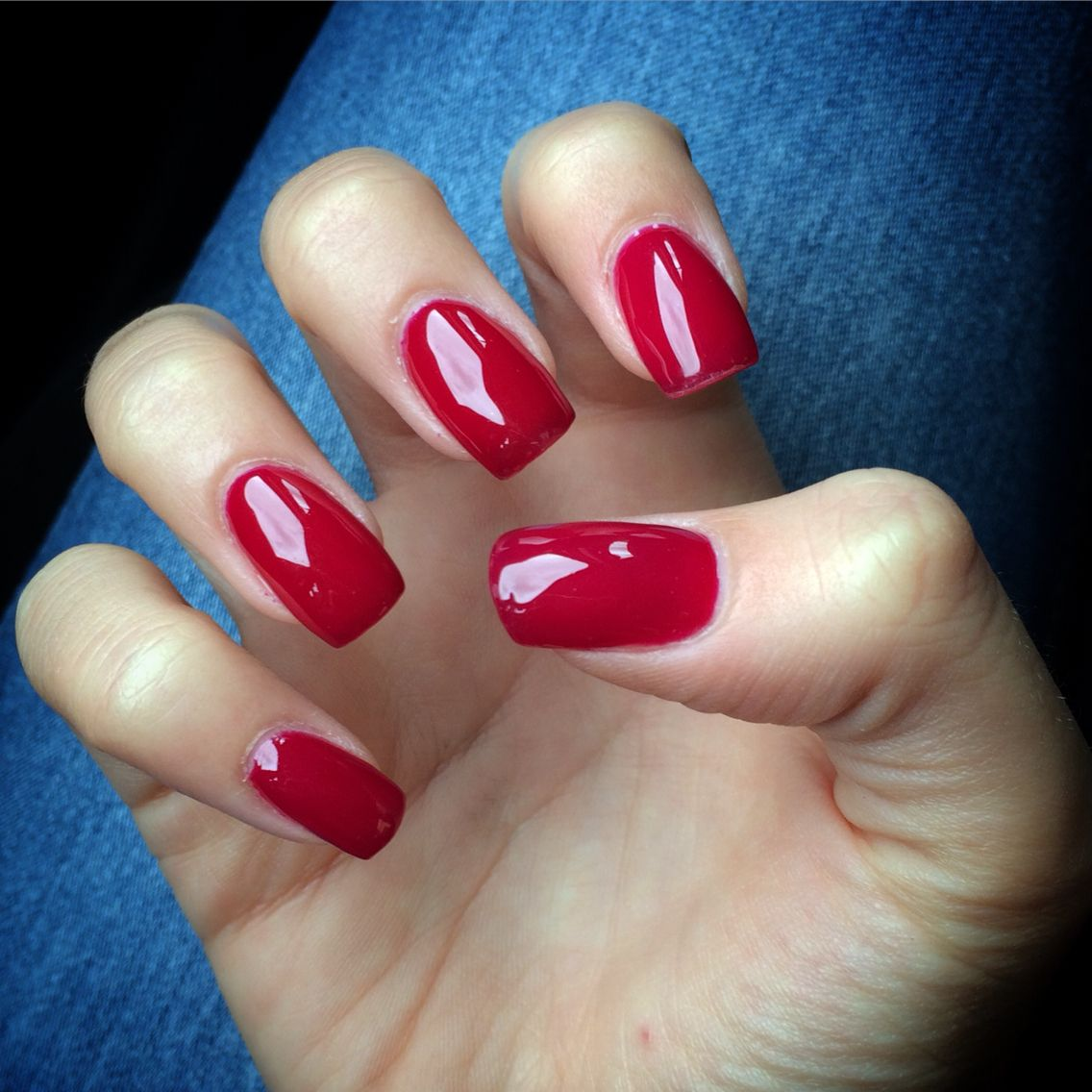 Red gel nails square | Prom | Pinterest | Red gel nails, Square ...