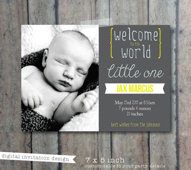 Baby announcement card new baby announcement card by PrintSmitten – Baby Announcement Cards Etsy