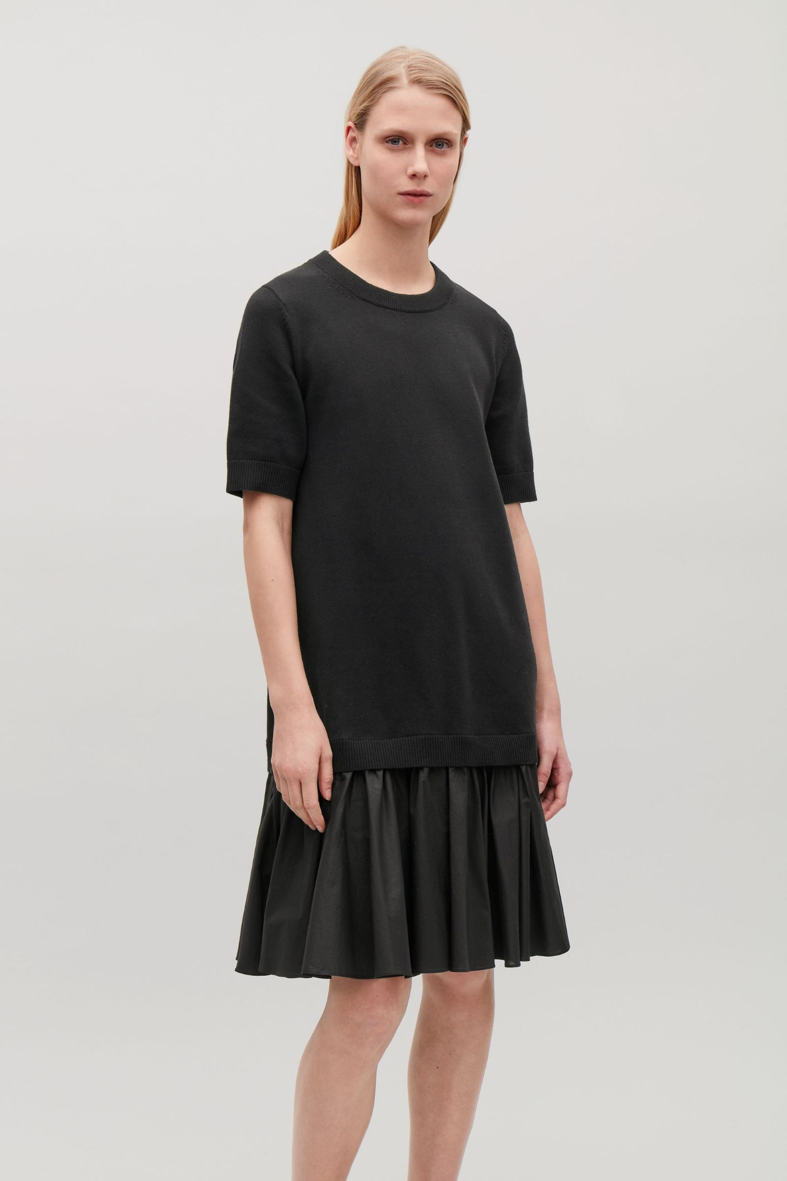 Cos Image 2 Of Panelled Cotton Knit Dress In Black Clothpiration