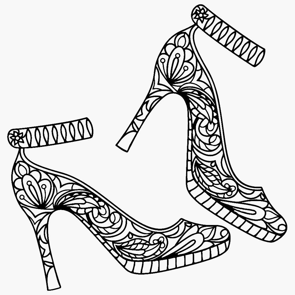 High Heel Shoes Coloring Page Color Me App Shoe Design Sketches Coloring Pages Mandala Art Lesson