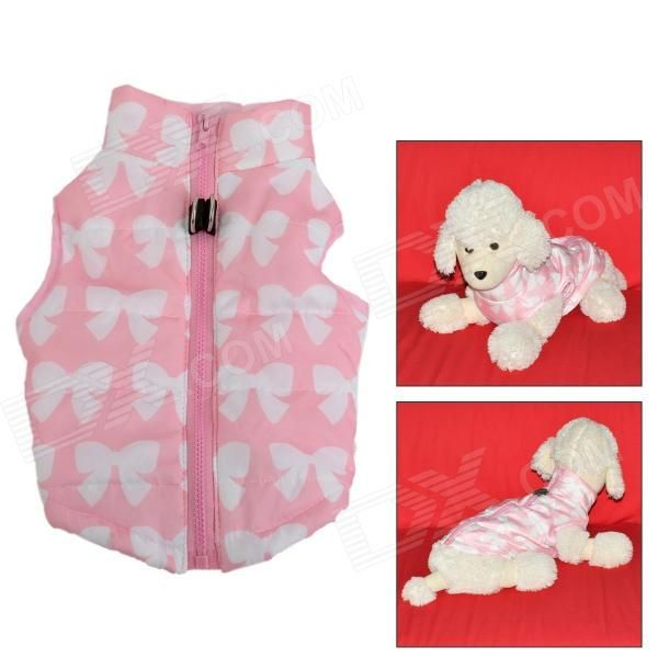 FF-01 Windproof Warm Cotton Zipper Jacket for Pet Dog - Pink + White (M) - US$ 8.58 - 02/24/2014 - deal-dx