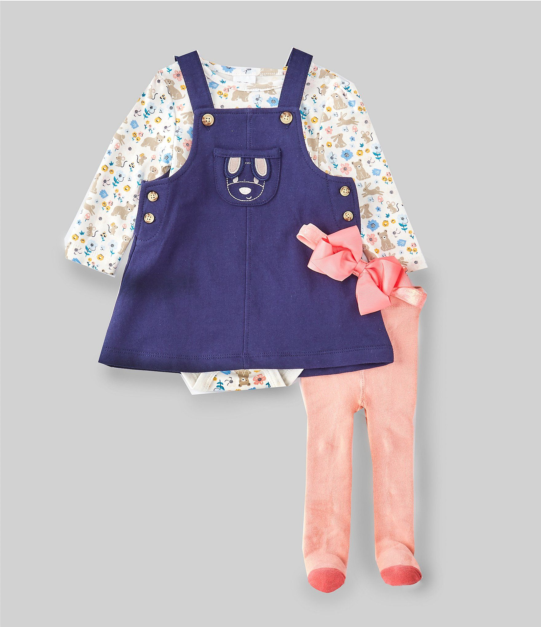 Photo of Starting Out Baby Girls Newborn-9 Months Little Critters 4-Piece Layette Set – Ink Blue 6 Months