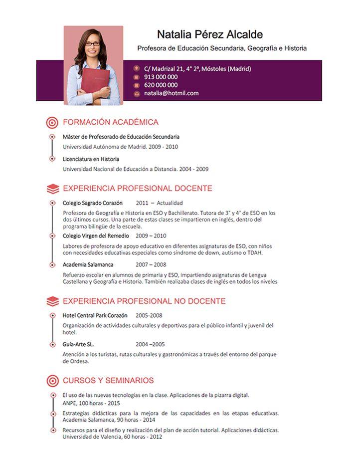 Maestra Jardinera CV Plantillas curriculum, Modelos de