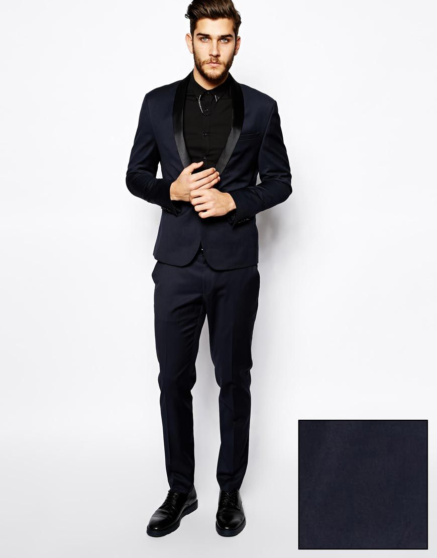 ASOS Skinny Fit Tuxedo in Navy | The Suits | Pinterest | ASOS ...