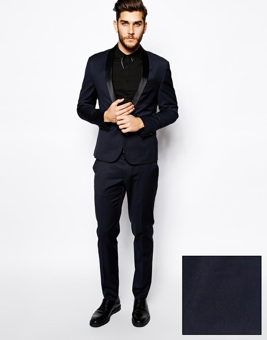 Image 1 of ASOS Skinny Fit Tuxedo in Navy | Wedding | Pinterest ...