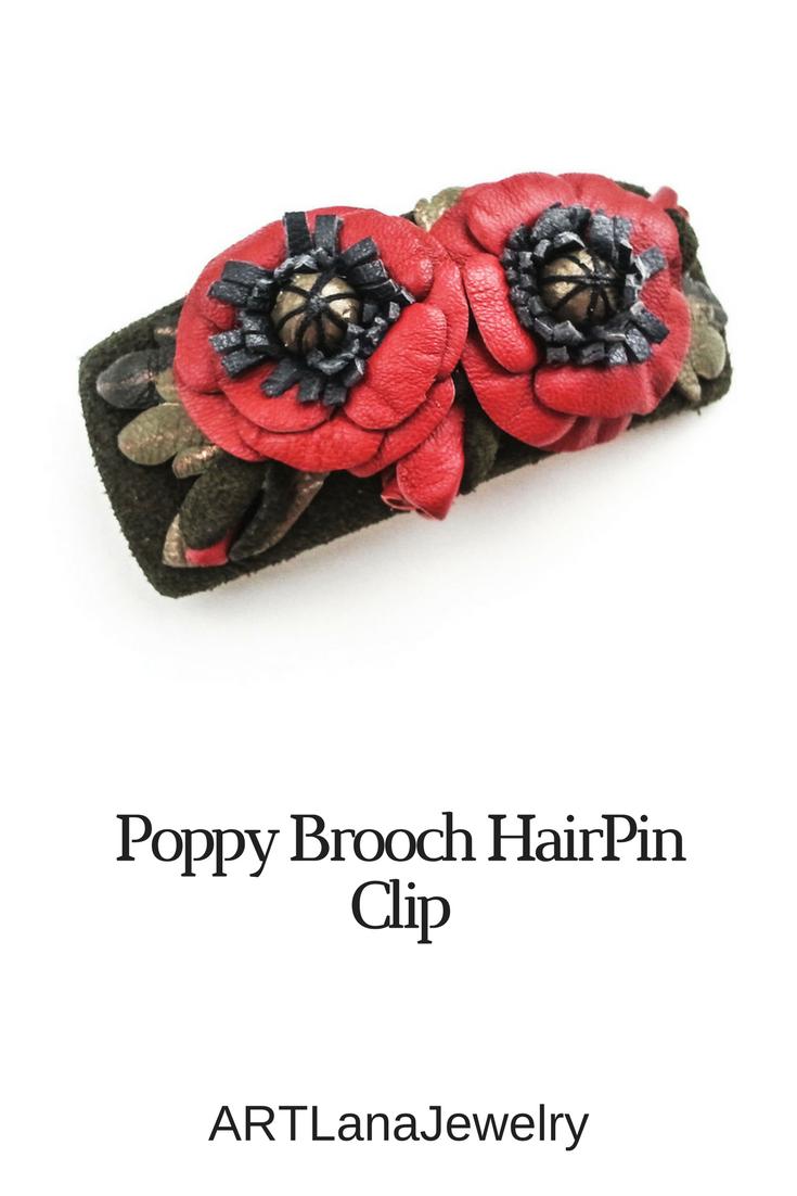 Red Poppy Brooch Gift For Women Hair Flower Brooch Poppy Leather