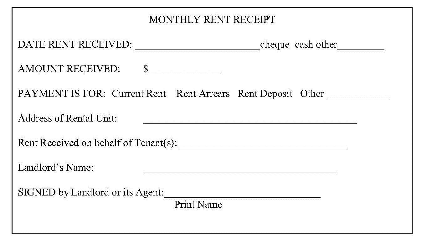 Image Result For Ontario Rent Receipt  Landlord Forms