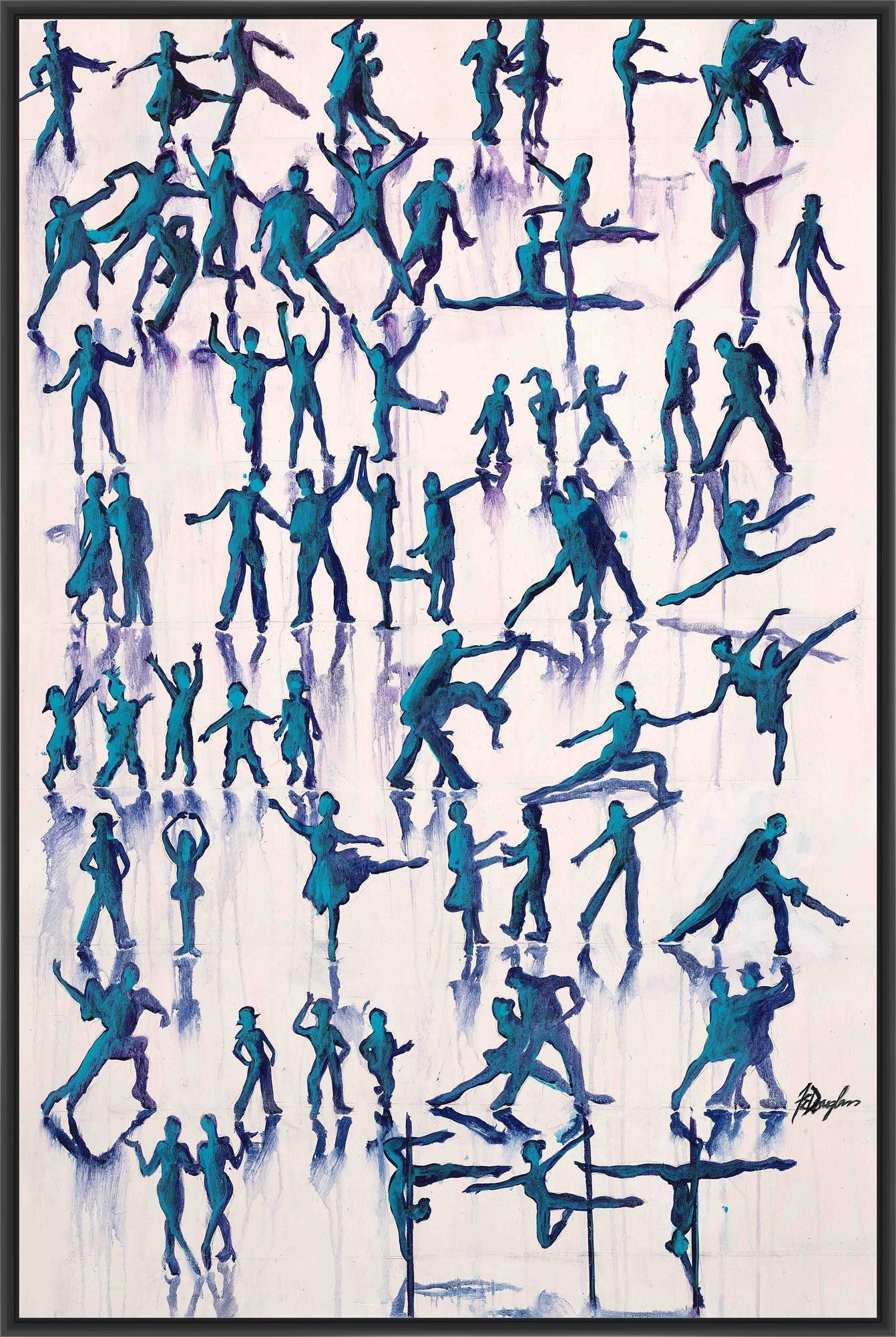 LETS DANCE EVERYDAY 28L X 28H Floater Framed Art Giclee Wrapped Canvas