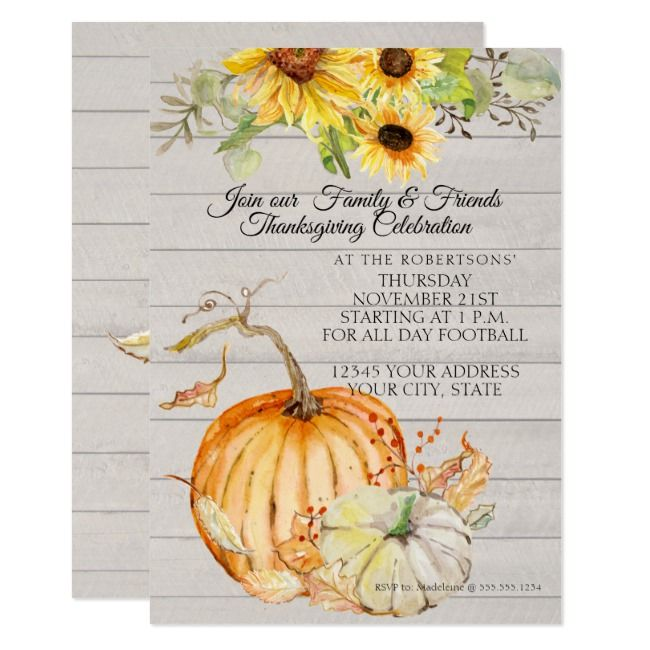 Thanksgiving Fall Sunflower Leaf n Wood Pumpkins Invitation