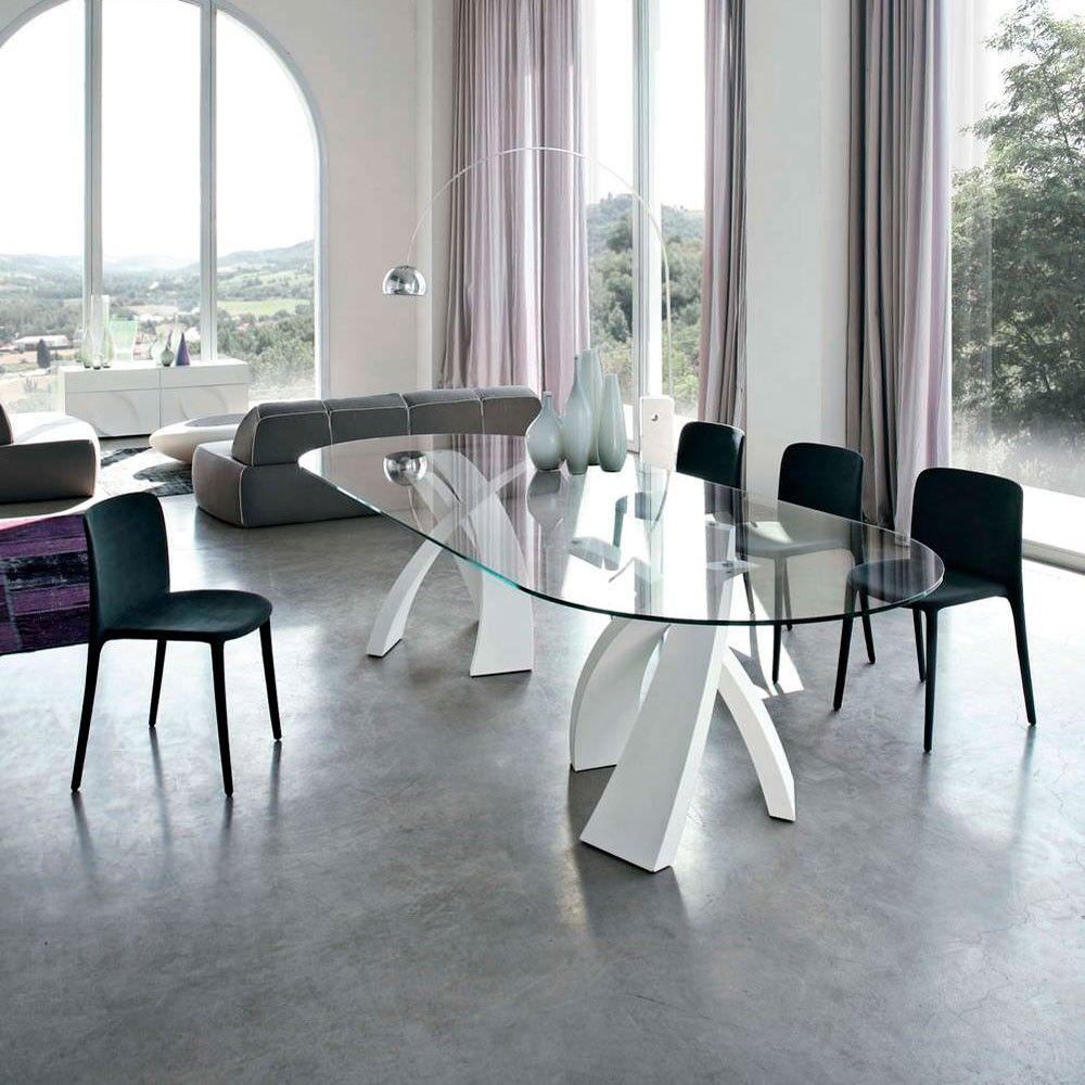 Mesa fija ovalada o perfilada big eliseo con base en metal - Mesas de cristal salon ...