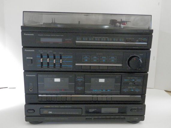Panasonic Stereo System SG-D16 & 2 Emerson Speakers 1980s Phono Fisher CD  Player Turntable Cassette Radio Operating Instructions Works Great