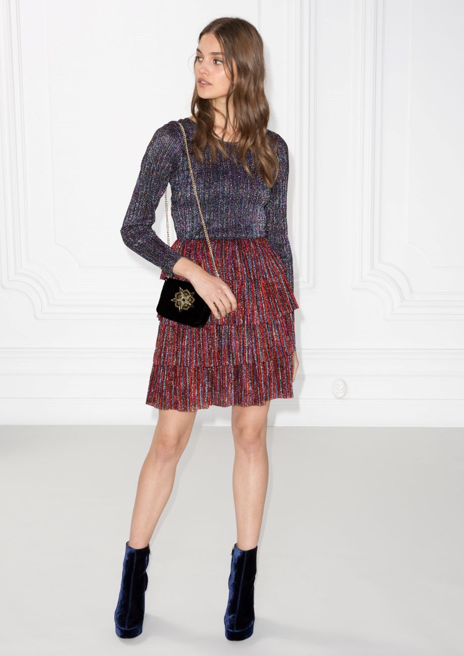 Frills and glitter dress redpurplemetallic red purple and metallic
