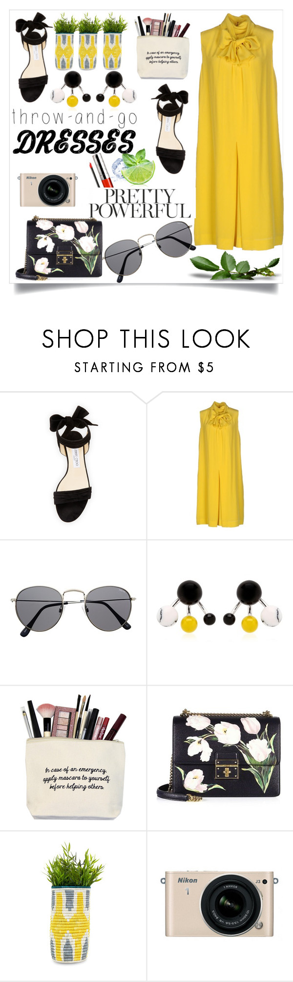 """Easy Peasy!!"" by poorvashikalra ❤ liked on Polyvore featuring Jimmy Choo, Chloé, Eshvi, Dolce&Gabbana, Nikon and By Terry"