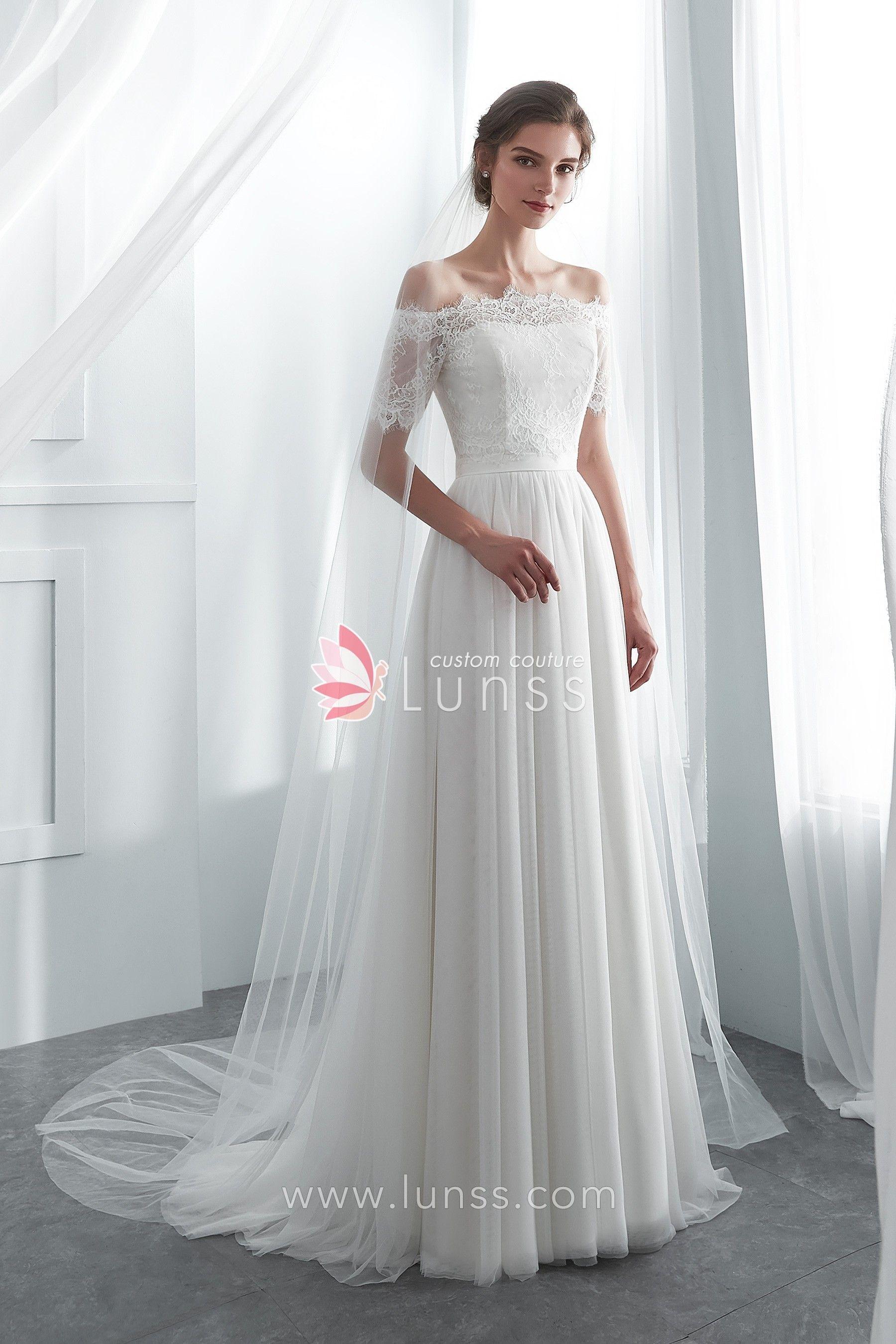 db8f7e18ca584 Ivory Simple Semi-sweetheart Spandex Net Long Wedding Dress with ...