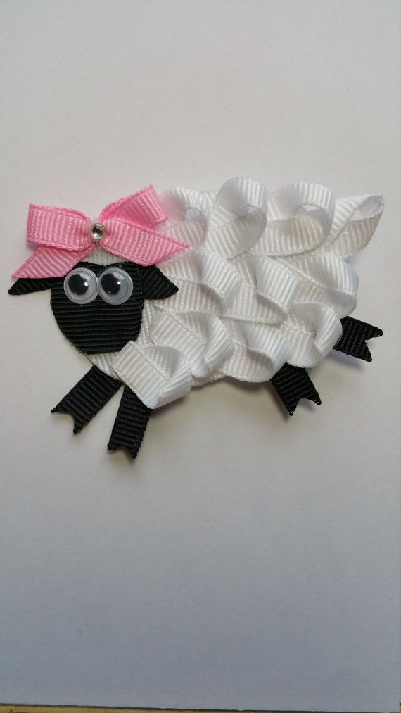 Little Bo Peep Sheep Clip Ribbon Sculpture, Easter hair clip, Hair ...