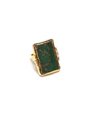 The Bailey Ring in Gold Flecked Agate by Robyn Rhodes at CoutureCandy.com