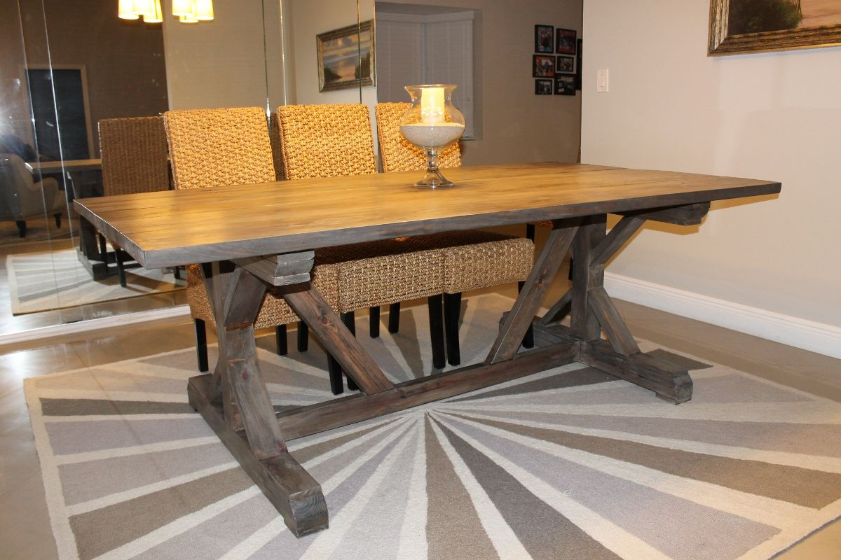 Furniture Diy Trestle Solid Wood Farmhouse Dining Table