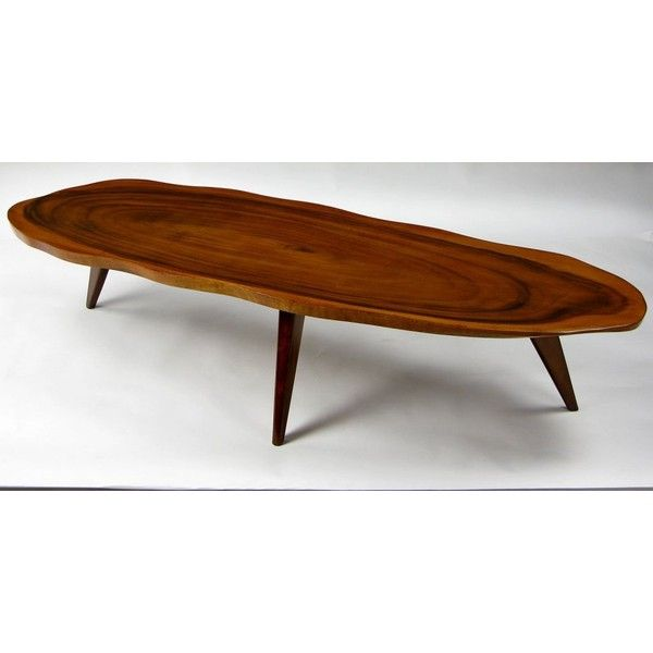 Solid One Piece Koa Wood Coffee Table Liked On Polyvore Featuring Home Furniture