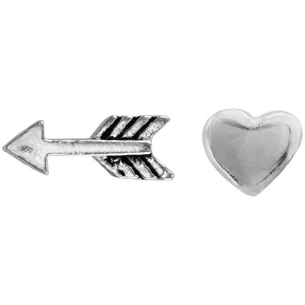 Itsy Bitsy Sterling Silver Arrow Heart Mismatch Stud Earrings 12 Liked On