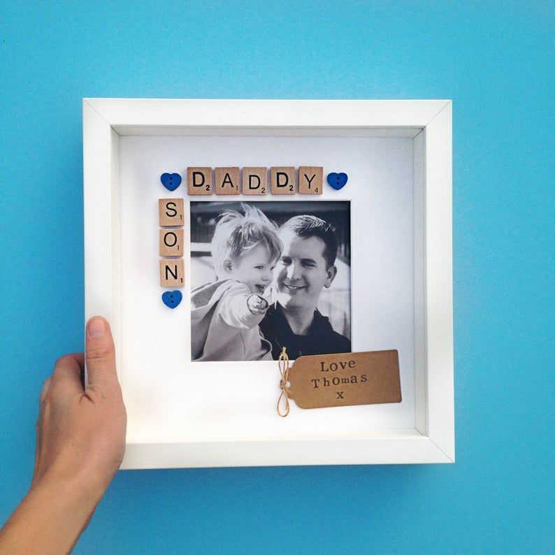 Daddy son frame scrabble photo frame fathers day gift dad