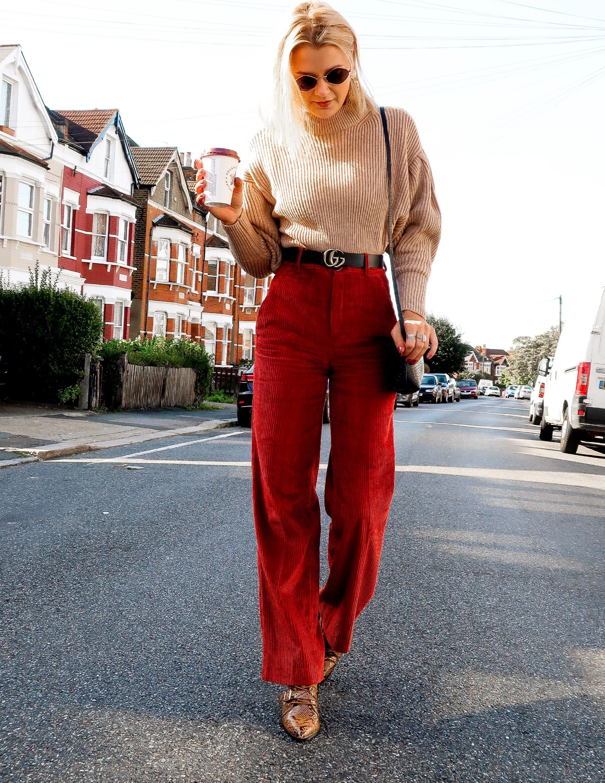 Burgundy Red Vintage Corduroy Pants