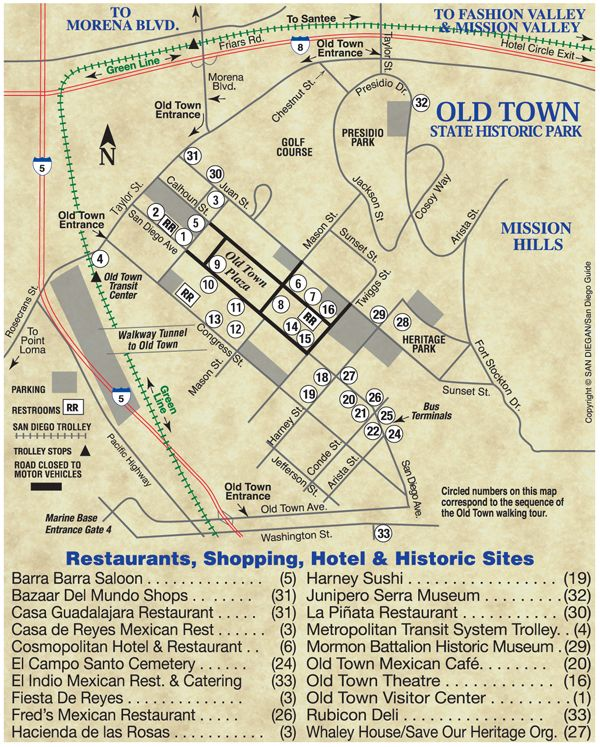 Old Town San Diego Map I Love San Diego Lived There On And Off