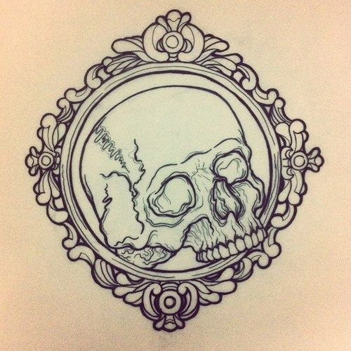 tattoo skull ink myartwork copic lineart frame linework neotraditional neotrad NECKPIECE by up-th-shores