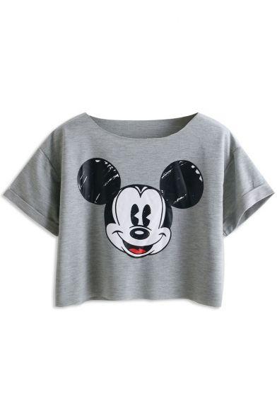 Loose Mickey Print Crop T-Shirt
