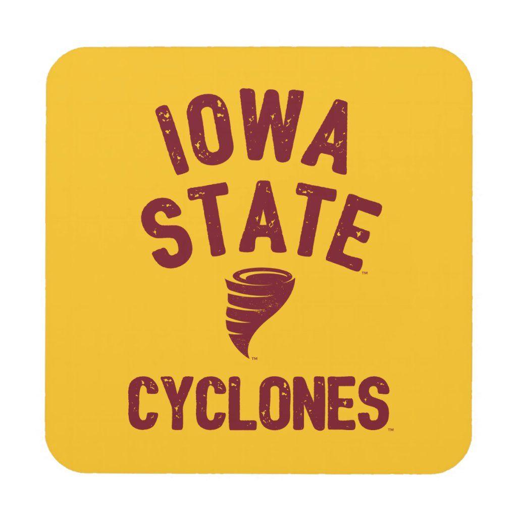 Iowa State University Iowa Cyclone Distressed Beverage Coaster #iowastateuniversity