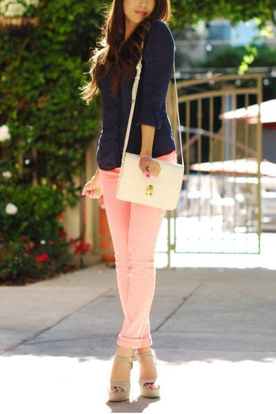 Light Pink Jeans Navy Shirt White Bag Eggshell Heels Light Pink Jeans Fashion Pink Pants Outfit