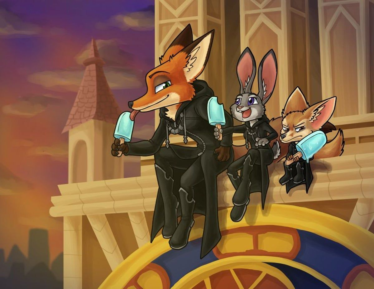 Kingdom Hearts Zootopia Trio Art Print on Mercari