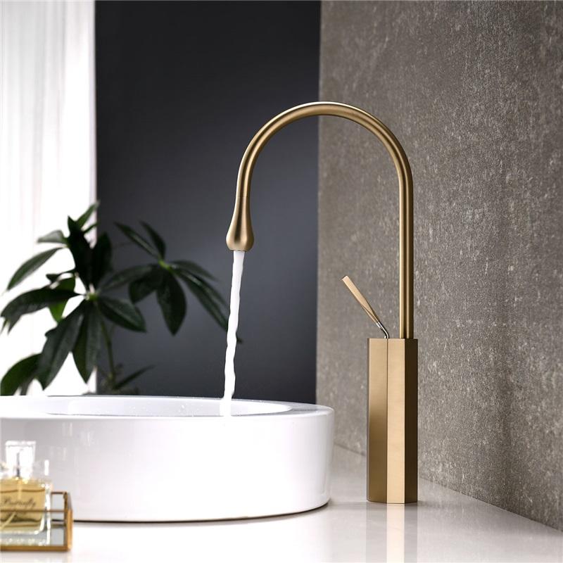 Gold Nickel Brushed Basin Faucet Water Droplet Shape Bathroom Sink Tap Basin Bathroom Bru In 2020 Gold Bathroom Faucet Bathroom Sink Taps Unique Bathroom Sink Faucet