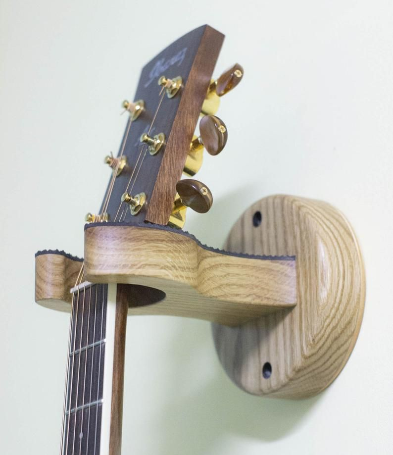 Acoustic Guitar Wall Mount Hanger Made Of Oak Etsy In 2021 Guitar Wall Guitar Wall Hanger Wooden Hangers