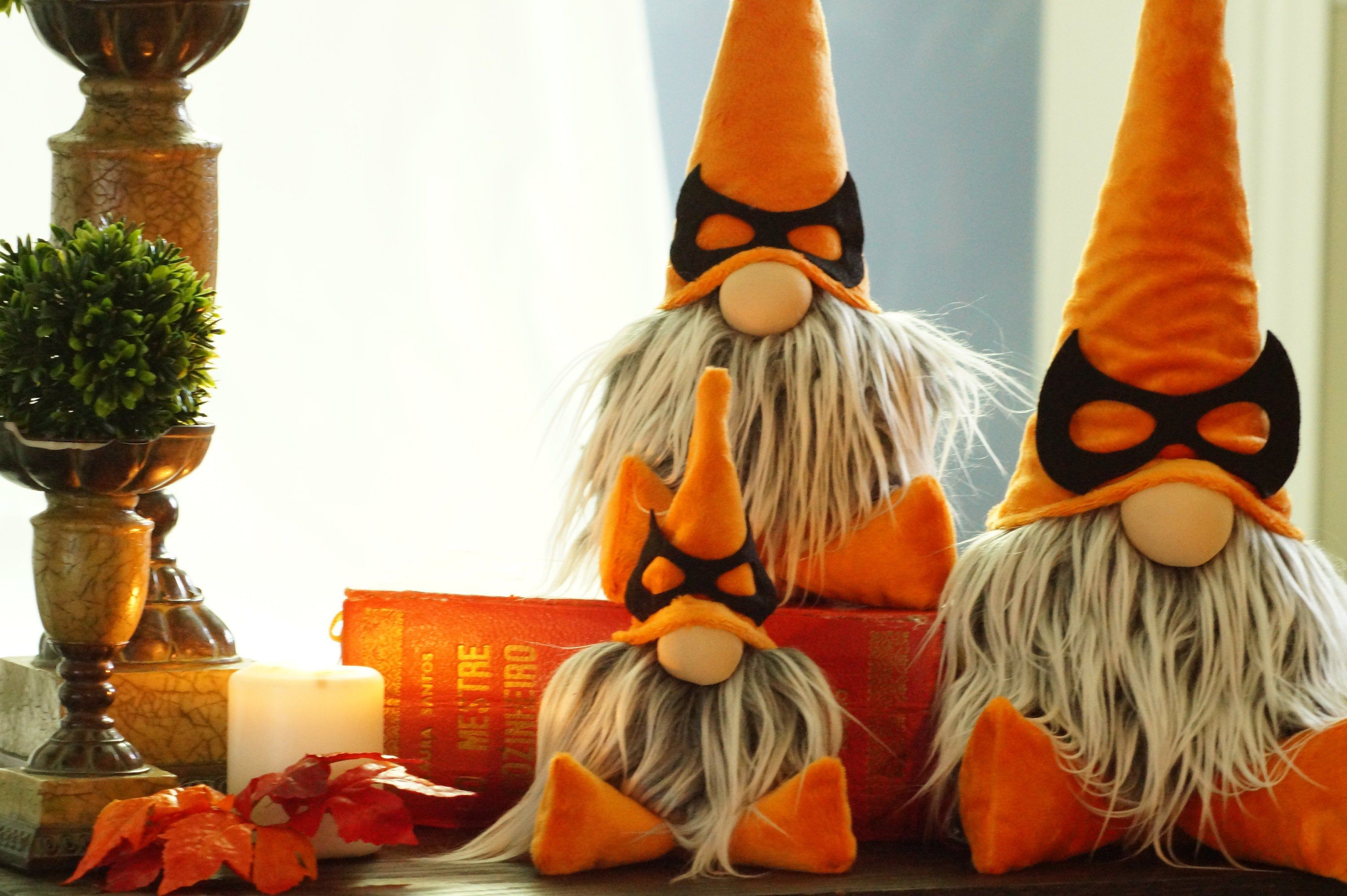 Halloween Gnome Orange gnome with mask. Unique Whimsical