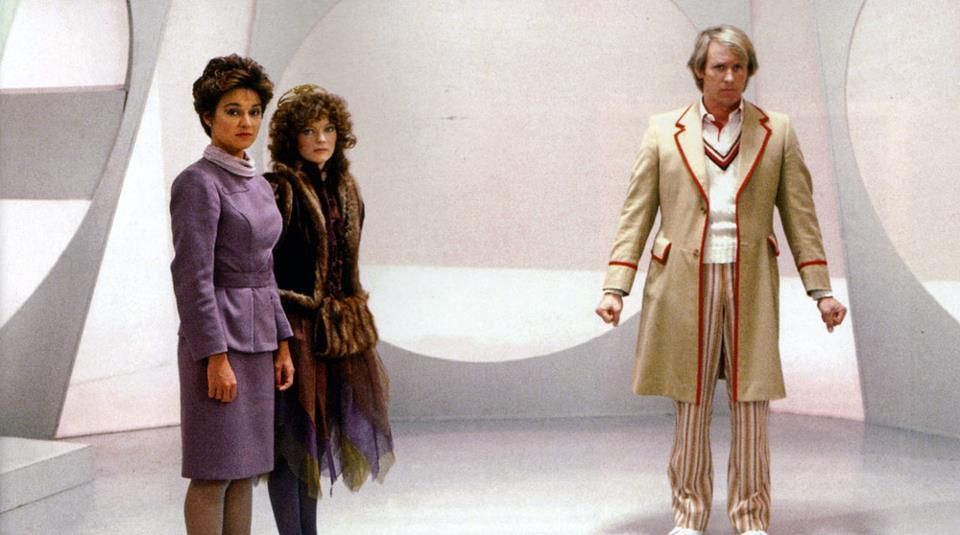 Janet, Sarah and Peter in a publicity shot taken on the set of Castrovalva.